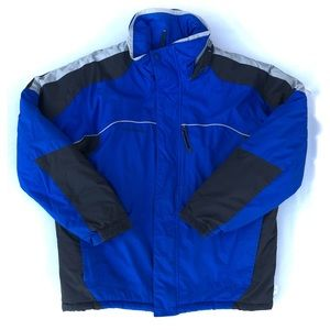 Columbia blue men's puffy ski jacket with hoodie